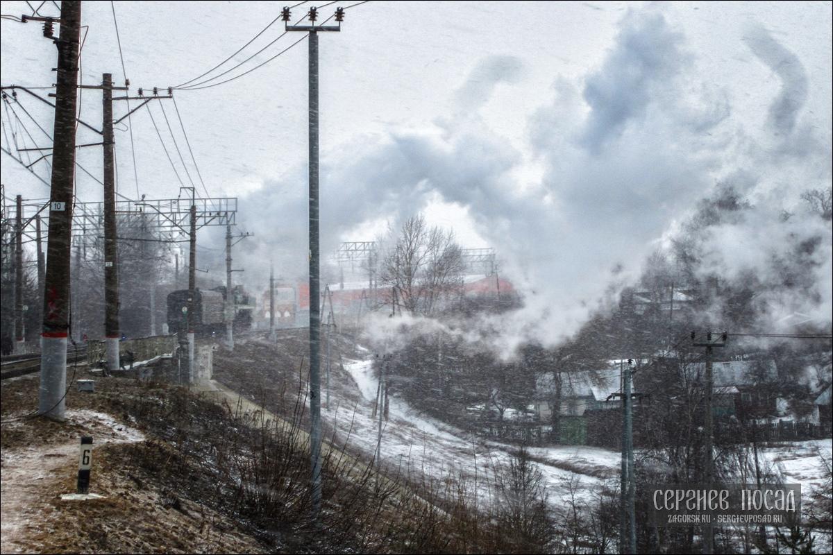 Паровоз П36 в Хотьково. 25 марта 2017 года